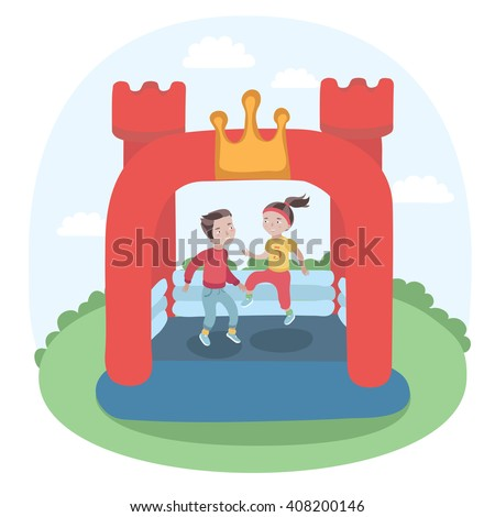 Vector illustration of kids jumping in colorful small air bouncer inflatable trampoline castle on the meadow - stock vector