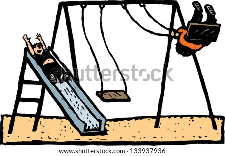 Vector illustration of kids playing on swing and slide at park - stock vector