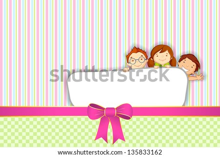 vector illustration of kids standing behind placard - stock vector