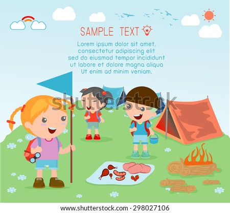 vector illustration of kids summer camp, Kids on a Camping Trip. - stock vector