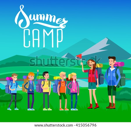 vector illustration of kids summer camp on beautiful landscape . Vector characters   camp counselor and children. Camping banner and icon. Vector kids summer camp. Illustration summer camp - stock vector