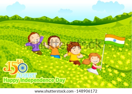 vector illustration of kids with Indian flag in crop field - stock vector