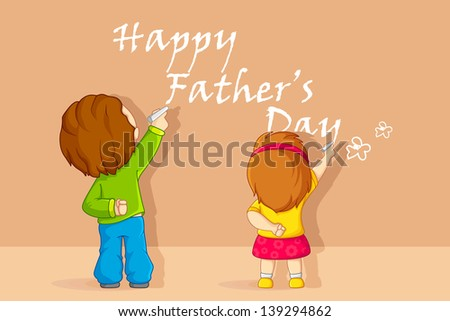 vector illustration of kids writing Happy Father's Day message - stock vector