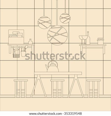 Vector illustration kitchen interior design template stock for Kitchen design vector