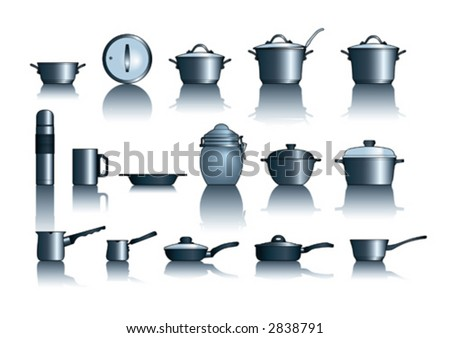 vector illustration of kitchen pots and pans - stock vector