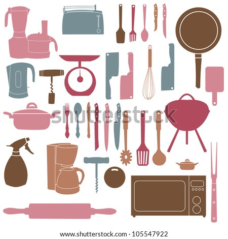 vector illustration of kitchen tools for cooking - stock vector
