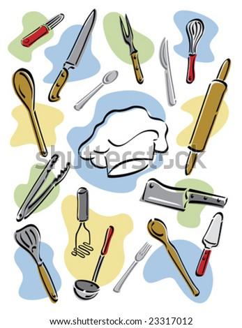 Vector illustration of kitchen utensils surrounding a chef's hat. - stock vector