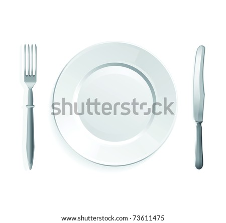Vector illustration of knife, fork and white plate,isolated on white background. - stock vector