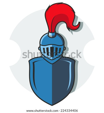 vector illustration of knight shield and helm in flat style - stock vector