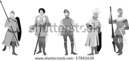 Vector Illustration of 5 Knights (Set Two) - stock vector