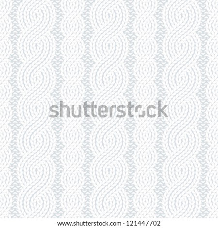 Knitting Stitches Vector : Vector illustration of knitted seamless pattern in light colors - stock vector