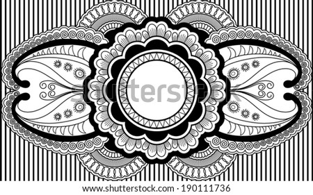 Vector illustration of  label design inspired by Indian style - stock vector