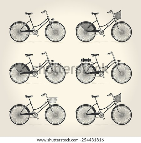 Vector illustration of ladies vintage bicycle over beige background - stock vector