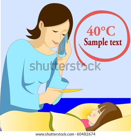 Vector illustration of lady mother measuring temperature to her ill daughter with high fever maybe due to the flu The mother is calling the doctor at the phone