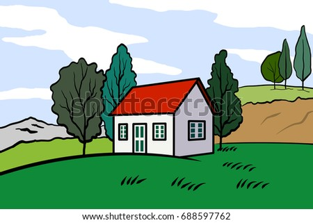 Vector illustration of landscape with mountain and fields with houses and trees