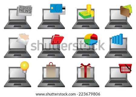Vector illustration of laptop computers with colorful icons of different softwares and applications for personal, business and commerce - stock vector