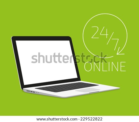 Vector illustration of Laptop isometric template on green background. Online shopping 24. Text outlined. Free font used - Exo 2 and Open Sans - stock vector