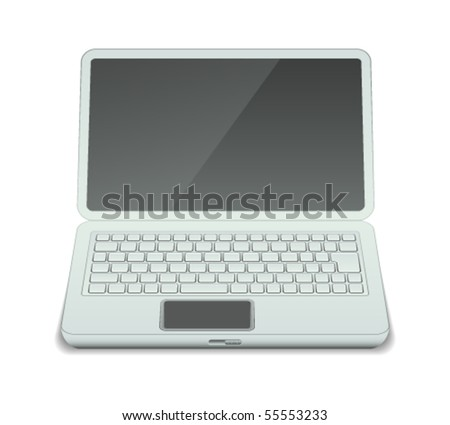 Vector illustration of laptop with blank screen