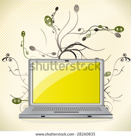 Vector illustration of laptop with floral elements. - stock vector