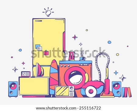 Vector Illustration Of Large Pile Bright Household Appliances Standing On Each Other Light Gray