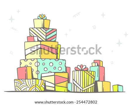 Vector illustration of large pile of red and green gifts standing on each other on light background. Retro color line art design for web, site, advertising, banner, poster, board and print. - stock vector