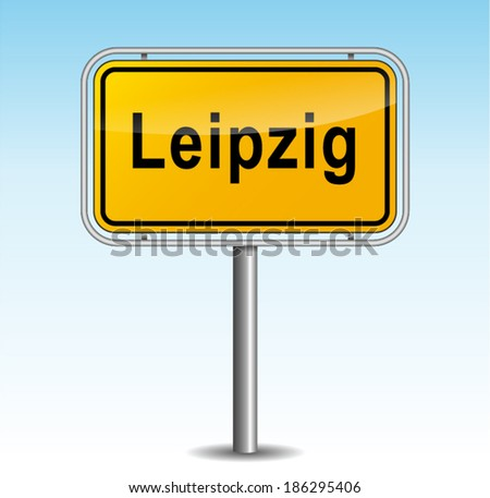 Vector illustration of leipzig signpost on sky background - stock vector