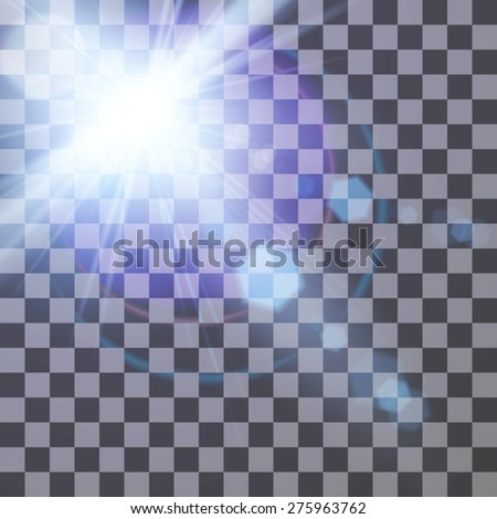 Vector illustration of lens flare on a transparent background for your design - stock vector