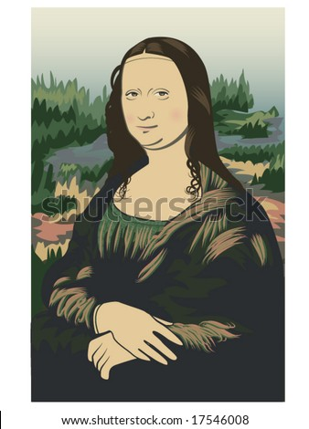 vector illustration of Leonardo da Vinci's Mona Lisa on stylized background - stock vector