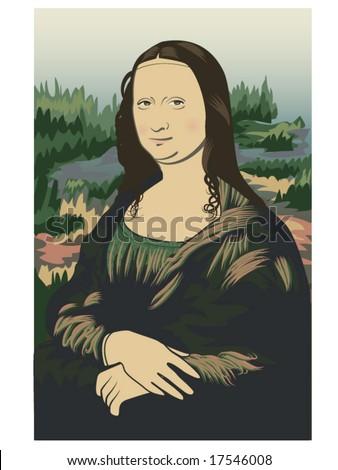 vector illustration of Leonardo da Vinci's Mona Lisa on stylized background - stock vector