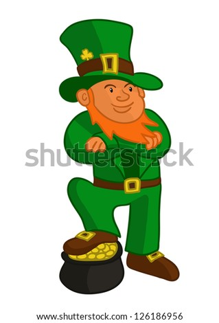 vector illustration of Leprechaun celebrating Saint Patrick's Day - stock vector