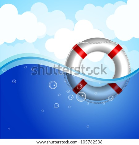 Vector illustration of Life Buoy in water - stock vector