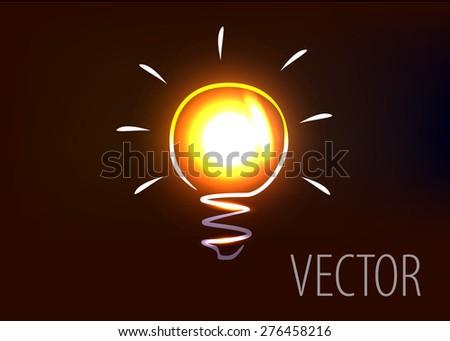 Vector illustration of light bulb - stock vector