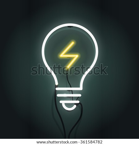 Vector illustration of light bulb and idea concept. Neon sign. - stock vector