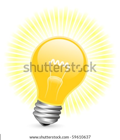 Vector illustration of light bulb with beams - stock vector