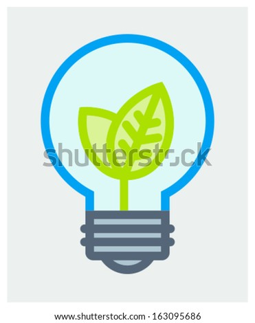 Vector illustration of light bulb with growing up young leaves