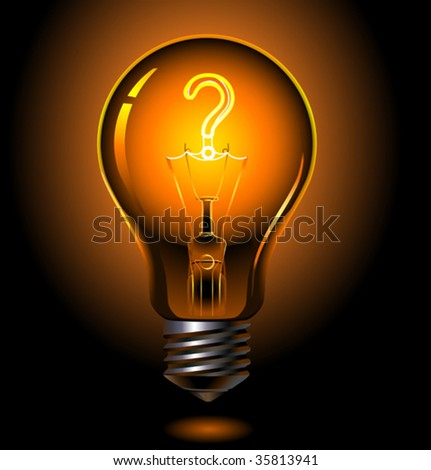 vector illustration of lightbulb , question concept - stock vector
