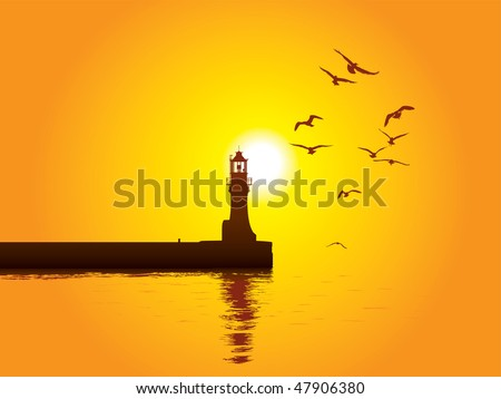 Vector illustration of Lighthouse on sunset - stock vector