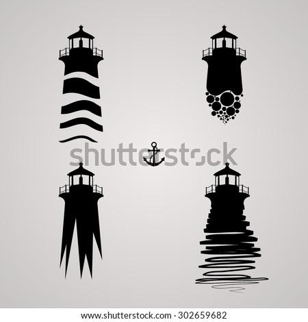 vector illustration of lighthouse set.  - stock vector