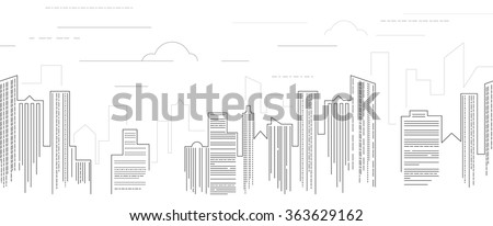 Vector illustration  of line skyscrapers. Black and white. Line art. Eps 8 - stock vector