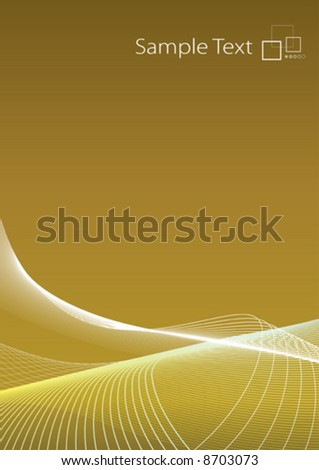 Vector illustration of lined art on a blank gradient golden background with template logo or ad message in the corner. Clean. - stock vector