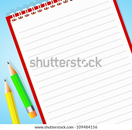 Vector illustration of lined notepad with pencil - stock vector