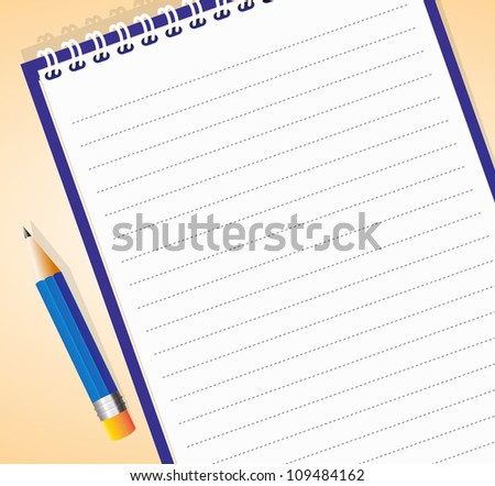 Vector illustration of lined notepad with pencil