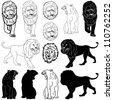 Vector illustration of lion design set - stock vector