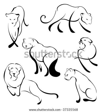 Vector illustration of Lion Design Set made with simple line only - stock vector