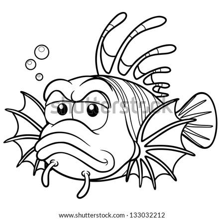 Vector Illustration Of Lionfish Cartoon