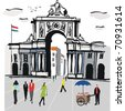 Vector illustration of Lisbon city square with old archway, Portugal. - stock vector