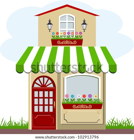 Vector illustration of little cute retro house and store, shop or boutique with green awning - stock vector