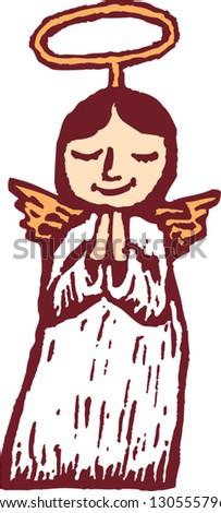 Vector illustration of little girl angel - stock vector