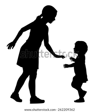 Vector illustration of little kid and his sister  - stock vector