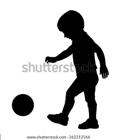 Vector illustration of little kid silhouette playing with ball - stock vector